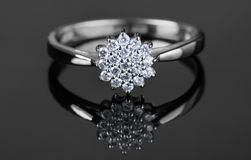 White gold ring with diamonds Royalty Free Stock Images