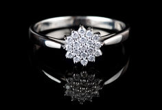 White gold ring with diamonds Royalty Free Stock Photos