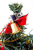 White gold ring with topaz and diamonds  on a Christmas tree Royalty Free Stock Photo