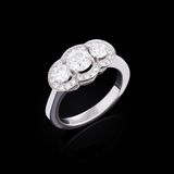White gold ring with white diamonds Royalty Free Stock Images