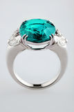 White gold or silver ring with blue zircon Stock Image
