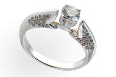 White gold treasures with diamonds Royalty Free Stock Photos