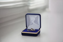 White gold, wedding bands, wedding rings from white gold in the blue box Stock Photography