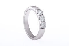 White gold wedding, engagement ring with diamonds Royalty Free Stock Photos
