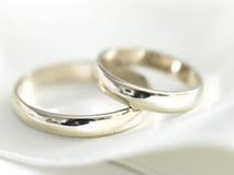 White gold wedding rings Royalty Free Stock Image