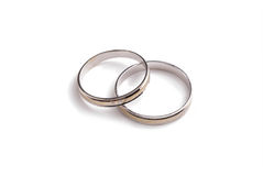 White gold wedding rings Stock Photos