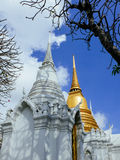 White and golden chedis at Wat Ratchabopit Stock Image