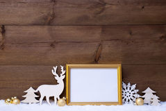 White And Golden Christmas Card On Snow With Copy Space Stock Photography