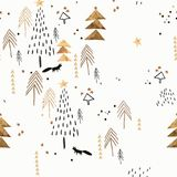 White and golden Christmas pattern. Seamless pattern with spruces and christmas trees and fox, moon and stars, stylized and graphic, can be use for backgrounds vector illustration