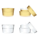 White and golden cosmetics containers. Bottle with package isolated on white, vector illustration Royalty Free Stock Image