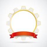 White Golden Gear Red Ribbon Stock Image
