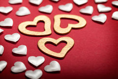 White and golden hearts Royalty Free Stock Photo