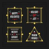 White and golden Holiday frames with messages on black background stock illustration