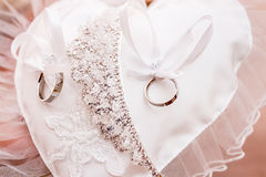 White golden rings for wedding ceremony Royalty Free Stock Images