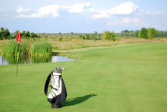 White golf bag Royalty Free Stock Photography