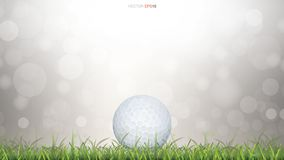 White golf ball in green grass field and light blurred bokeh background. Vector illustration vector illustration