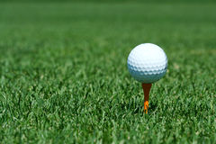 White golf ball on a orange tee Royalty Free Stock Photos
