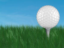 White golf ball on tee. In grass with blue sky on the background Stock Photos