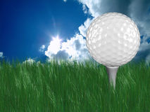 White golf ball on tee in grass. With blue sky on the background Stock Images
