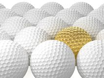 White golf balls with the golden one. 3D Illustration. On White Background Stock Photo