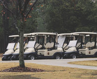 White Golf Carts Parked And Ready To Go Stock Photo