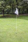White golf flag on a field Royalty Free Stock Images