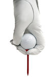 White golve, golf ball and  red tee Royalty Free Stock Photography