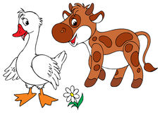 White Goose and brown calf stock illustration
