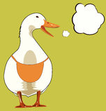 White Goose screams. On geese wear an apron. Vector illustration. Stock Images