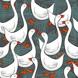 White gooses on messy gray seamless pattern Royalty Free Stock Photo