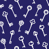 White gothic keys on blue seamless vector pattern Royalty Free Stock Photos