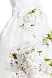 White gown with flowers Royalty Free Stock Photos