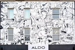 White graffitti building ALDO in Camden. Image was taken in London on Camden in Winter 2010 Royalty Free Stock Photography
