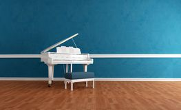 White gran piano in blue interior Royalty Free Stock Image