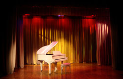 White Grand piano. Royalty Free Stock Photography