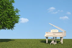 White grand piano on grass Royalty Free Stock Photography
