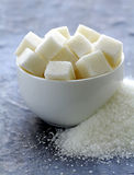 White granulated sugar and refined sugar Royalty Free Stock Photography
