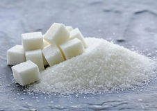 White granulated sugar and refined sugar Stock Images