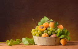 White grape and apricots Royalty Free Stock Image