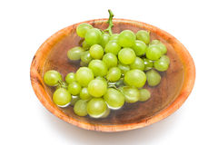 White grape in bamboo bowl Royalty Free Stock Photo