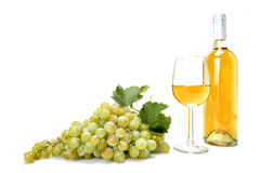 White grape bunch and wine glass on white background. Stock Images