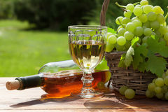 White grape, wine bottle and glass Royalty Free Stock Photography