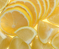White grapefruit chunks on an old cutting board Royalty Free Stock Image