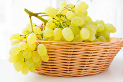 White grapes. In basket over light background Stock Photography