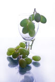 White grapes. And wine glass Royalty Free Stock Photo