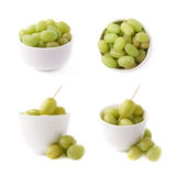 White grapes in a ceramic bowl isolated Royalty Free Stock Photos