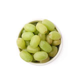 White grapes in a ceramic bowl isolated Stock Photography
