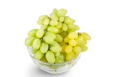 White grapes in glass bowl Stock Photo