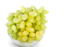 White grapes in glass bowl Stock Image