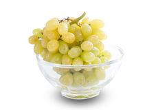 White grapes in glass bowl Stock Images